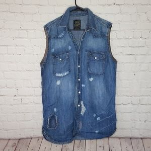Lucky Brand Distressed Denim Linen Blend Vest